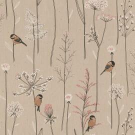 Tissu toile aspect lin motifs oiseaux sur une branche - Oeko tex