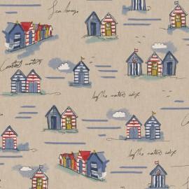 Tissu toile aspect lin motifs cabanes de plage - Oeko tex