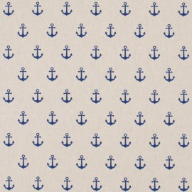 Tissu toile aspect lin motifs ancres marines bleu marine - Oeko tex