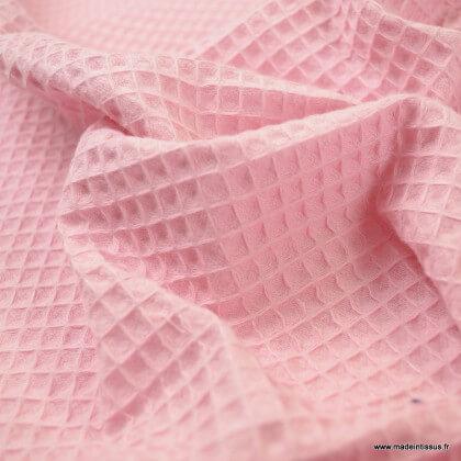Tissu nid d'abeille Rose fanée - Oeko tex