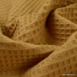 Tissu nid d'abeille Camel - Oeko tex
