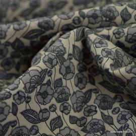 Tissu coton popeline motifs fleurs anthracite fond gris