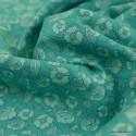 Tissu coton popeline motifs fleurs menthe fond vert