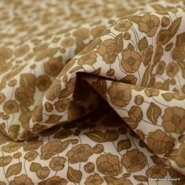 Tissu coton popeline motifs fleurs camel