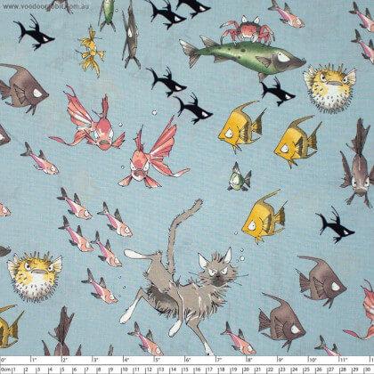 """Tissu Popeline coton motifs chats, possons et crabes,  Collection """"A Ghastlies dive Lake"""" par Alexander Henry"""