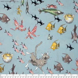 "Tissu Popeline coton motifs chats, possons et crabes,  Collection ""A Ghastlies dive Lake"" par Alexander Henry"