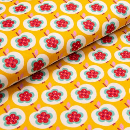 "Tissu Canva Kokka motifs Pommes et fleurs fond jaune ""Sweet Apple"" - Oeko tex"