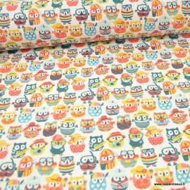 Tissu coton imprimé motifs Hiboux d'été fond Océan