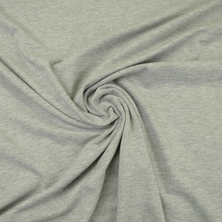 Tissu jersey chiné coloris gris clair - oeko tex