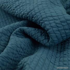Jersey matelassé à rayures coloris Bleu Denim - oeko tex