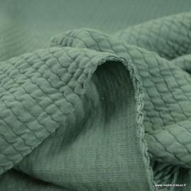 Jersey matelassé à rayures coloris Céladon - oeko tex