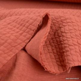 Jersey matelassé à rayures coloris Marsala - oeko tex