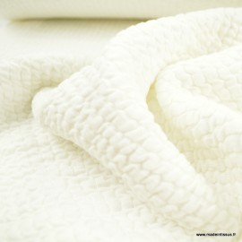 Jersey matelassé à rayures coloris Blanc - oeko tex
