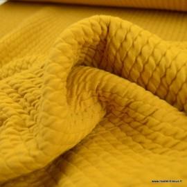 Jersey matelassé à rayures coloris Ocre - oeko tex