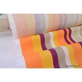 Demi natté coton rayures multi-couleurs orange . x 1m