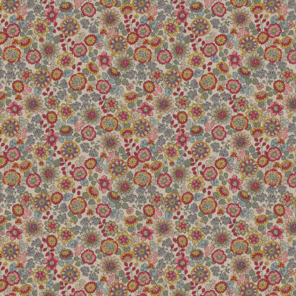 Tissu toile aspect lin motifs fleurs roses et fuchsia - Oeko tex