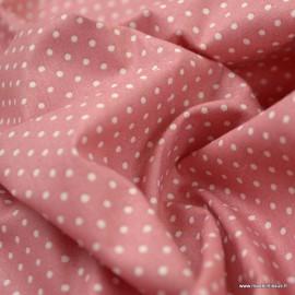 Tissu Popeline coton imprimé petit pois Blancs fond Bois de rose