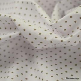 Tissu Popeline coton imprimé petit pois Taupe fond Blanc