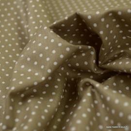 Tissu Popeline coton imprimé petit pois blancs fond taupe