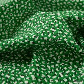 Tissu Viscose Marion motifs fleurs fond vert - oeko tex