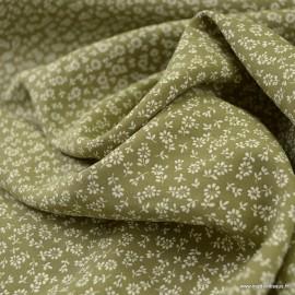 Tissu Viscose Lison motifs fleurs fond Kaki - oeko tex