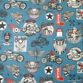 Tissu coton imprimé Rider fond Bleu - Oeko tex