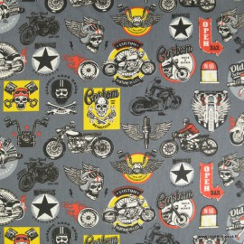 Tissu coton imprimé Rider fond Gris - Oeko tex