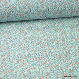 Tissu coton motifs fleurs Léonie Turquoise - Oeko tex