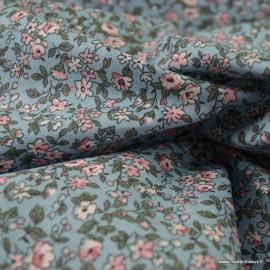 Tissu coton motifs fleurs Léonie Gris et Rose - Oeko tex