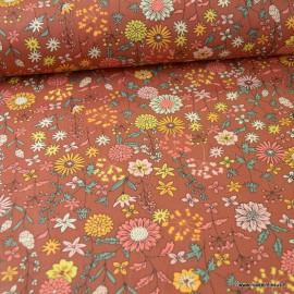 Tissu coton Valentine motifs fleurs Terracotta - Oeko tex