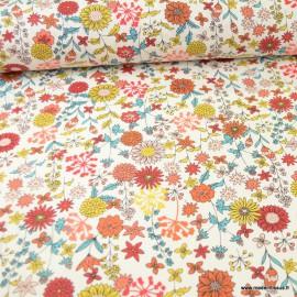 Tissu coton Valentine motifs fleurs Ivoire - Oeko tex