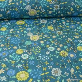 Tissu coton Valentine motifs fleurs Océan - Oeko tex
