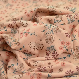 Tissu jersey motifs fleurs fond vieux rose - Oeko tex