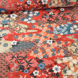 Tissu Viscose Ayo motifs fleurs fond Rouge - oeko tex