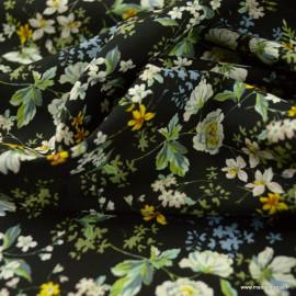 Tissu Viscose Anaïs motifs fleurs fond Noir - oeko tex