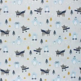 Tissu coton Tayo motifs renards à lunettes et pingoins - Oeko tex