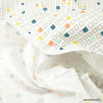 Pul contact alimentaire motifs cubes gris - oeko tex