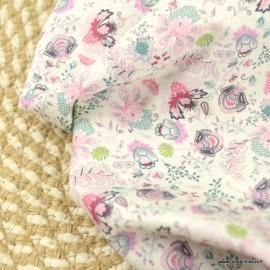 Popeline Rosaline style Liberty coloris Fuchsia et Rose - Oeko tex