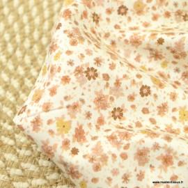 Popeline Eléane style Liberty coloris Camel et beige - Oeko tex