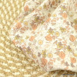 Popeline Romy style Liberty coloris Camel et beige - Oeko tex