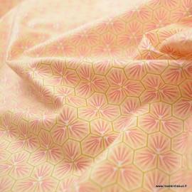 Tissu coton Riad Enduit coloris Rose Oeko tex