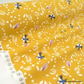 Tissu coton Johiro motifs oiseaux fond Camel - Oeko tex