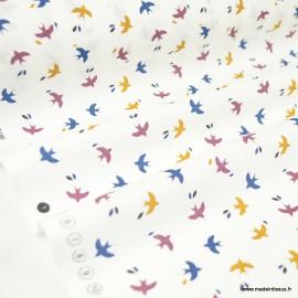 Tissu coton Mesao motifs oiseaux bleu, camel et prune - Oeko tex