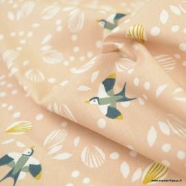 Tissu coton Johiro motifs oiseaux fond Skin - Oeko tex