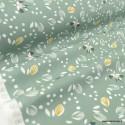Tissu coton Jolhiro motifs oiseaux fond vert de gris - Oeko tex