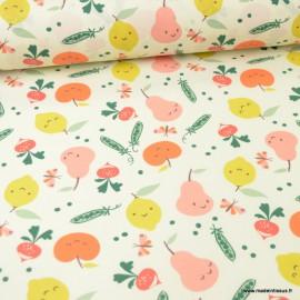 Tissu coton Veggy Enduit motifs pommes, citrons et radis -  Oeko tex