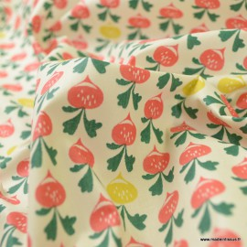 Tissu coton Radiz Enduit motifs radis -  Oeko tex