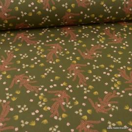 Tissu Hosia motifs fleurs fond bronze - oeko tex