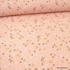 Tissu Yposia motifs fleurs fond Skin - oeko tex