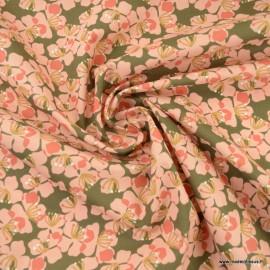 Tissu Kameko motifs fleurs skin fond bronze - oeko tex